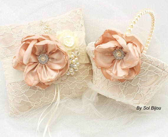 peach flower lace flower girl basket