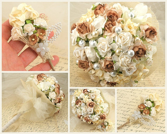 Bouquet, Wedding, Paper, Fabric, Toss, Maid of Honor, Tan, Ivory, Cream, Champagne, Burlap, Tulle, Elegant, Light, Rustic