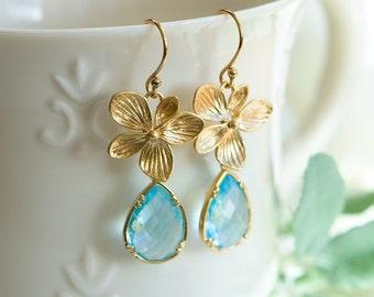 March birthstone earrings, Aquamarine earrings, Aquamarine drop earrings, Blue and gold earrings