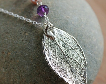 50% OFF Silver Dipped Evergreen Leaf Necklace - Long Leaf Necklace - Amethyst, Chalcedony