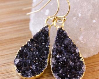 Gold Black Druzy Crystal Earrings - Teardrop Earrings - Classic Earrings