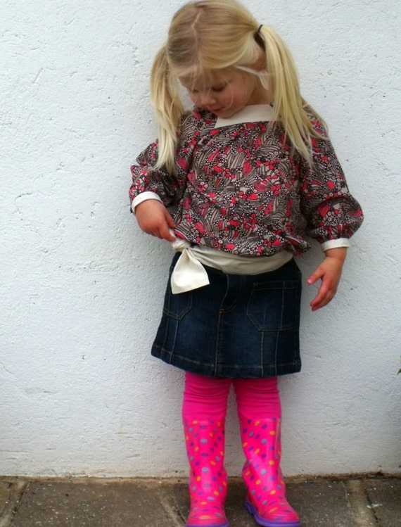 Sale Half Price Girls Blouse in Upcycled Designer Fabric Age 2/3