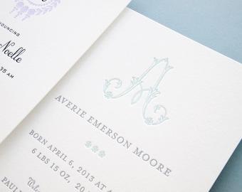 Custom Letterpress Baby Announcement Sample Pack
