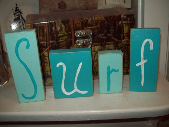Https Www Etsy Com Listing 191940574 Surf Blocks Beach Decorcottage