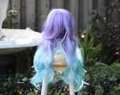 SALE - Mermaid - Lilac / Turquoise Ombre Superlong Wig - FREE SHIPPING
