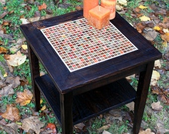 "End Table, Mosaic Centerpiece, ""Stained Glass Medley"", Reclaimed Wood, Java Finish - Handmade"