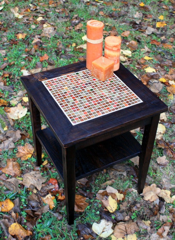 End table mosaic centerpiece stained glass