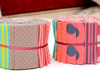 "Scrumptious Honey Sweet Quilt Jelly Roll Polka Dot Strips Fabric Roll 2 1/2"" 20 Strips Sea Breeze"