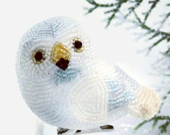 Snowy Owl Ornament Beaded Clip-On Bird Holiday Decoration Christmas Decor Hostess Gift  *MADE TO ORDER