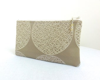 Neutral Zippered Bag / Cosmetic Bag - Sand, Ivory & Tan - READY TO SHIP
