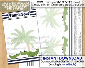"Preppy Alligator Baby Shower Printable FLAT 4""x6"" Thank You card note / Navy Blue stripes alligators gators crocodile INSTANT DOWNLOAD# 001"
