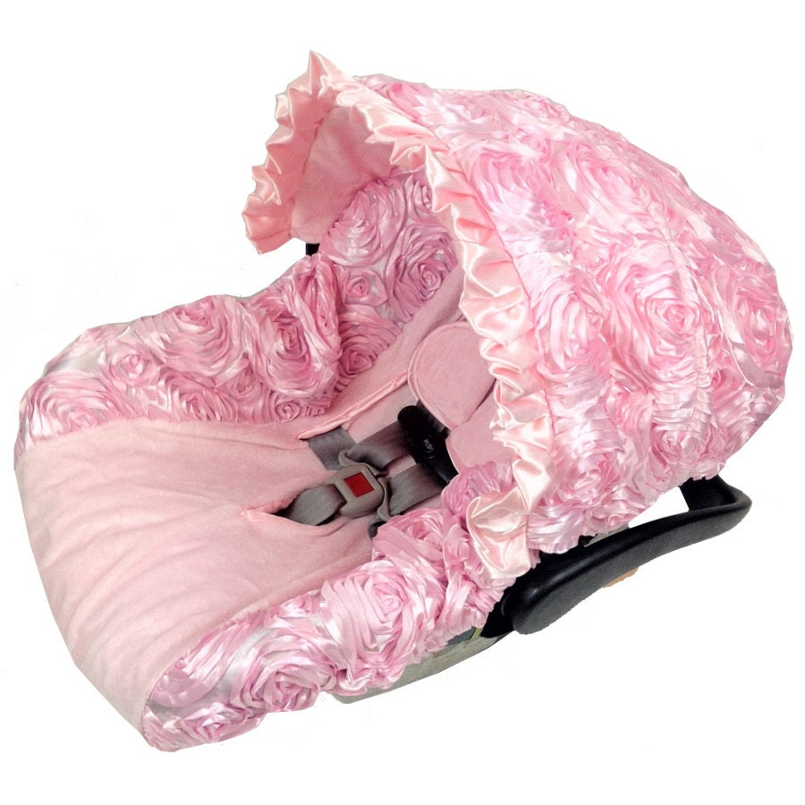 3D Roses Baby Pink Infant Car Seat Covers By RitzyBabyOriginal