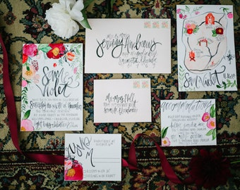 Bohemian Inspired Botanicals- Watercolor Illustrattions & Calligraphy Wedding Invitation Suite  - Customizable