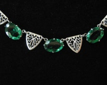 Art Deco Filigree Necklace with Green Oval Stones