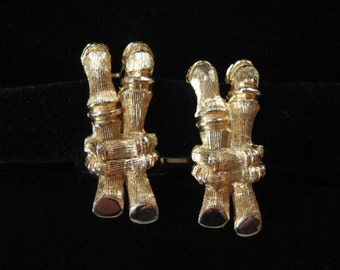 Bamboo Shaped Cuff Links, 1970's