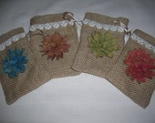 burlap bags flowers vintage lace sweet gift wrap rustic country chic set of four gift card holders