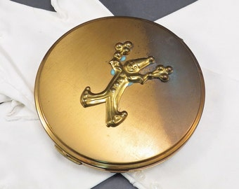 Clown Gold Tone Compact Rho-Jan Vintage 1940s Flapjack Compact - FREE Domestic Shipping