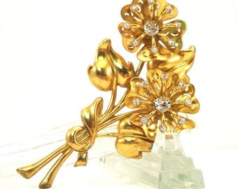 Coro Large Gold Tone Flower Brooch Vintage 1950s Signed Rhinestone Floral Broach