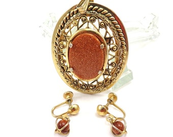 Goldstone Pendant Earring Set Vintage 1950s Goldtone Metal Slide Clipon Drop Earrings - FREE Domestic Shipping