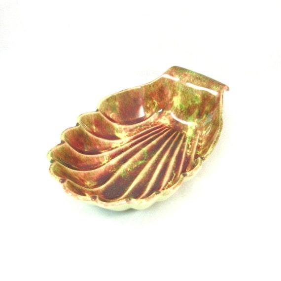 Jamieson's Pottery Leaf Bowl Vintage 1950s Autumn Glaze California Pottery Serving Dish