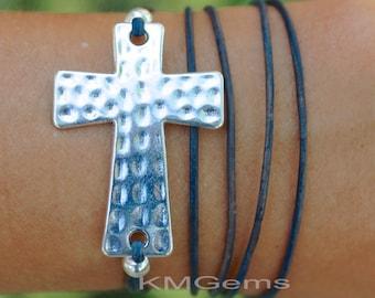 CustomSILVER Cross Boho Leather Wrap Bracelet  Sideways Hammered Textured Cross Triple Bohemian Wrap Bracelet - Pick COLOR / SIZE - Usa 128