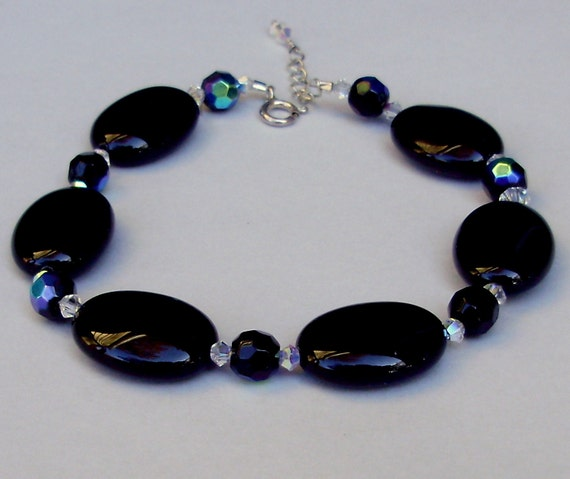 One Of A Kind - Black Onyx Glass Oval /  Beaded  Bracelet w/  Sterling Silver Chain - Crystal Drop Accent - Made In USA