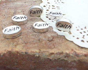24 Qty - Faith message beads SP91C - silver plated 9mm long, 11mm wide, 3mm thick, hole 1mm