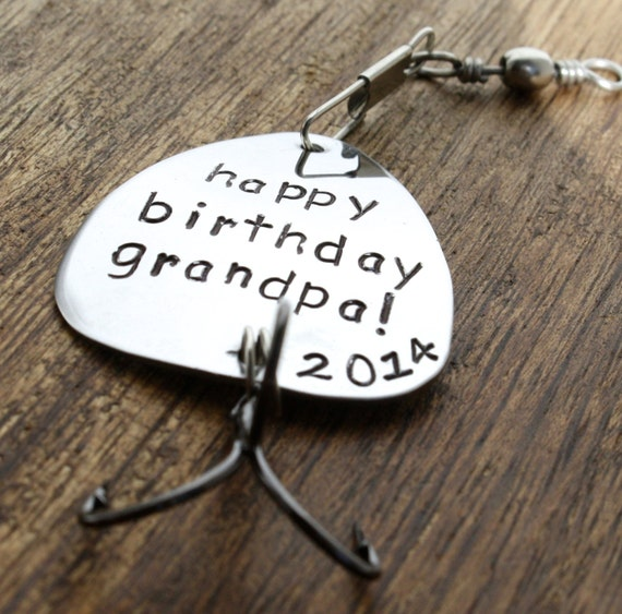 Birthday gift fishing lure personalized by sierrametaldesign for Fishing gifts for him