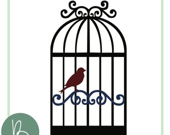Bird with Cage SVG File