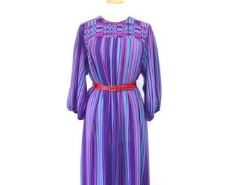 Vintage 1980s Stripe Dress Chez California  Shift Dress Party Summer Gown Size M/L