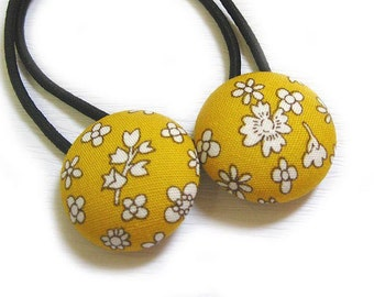 Button Ponytail Holders - Flowers on Yellow