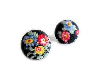 Button Earrings / Clip On Earrings - black floral earrings