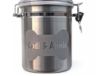 Dog Treat Jar - Engraved Personalized with Name in Bone - Stainless Steel
