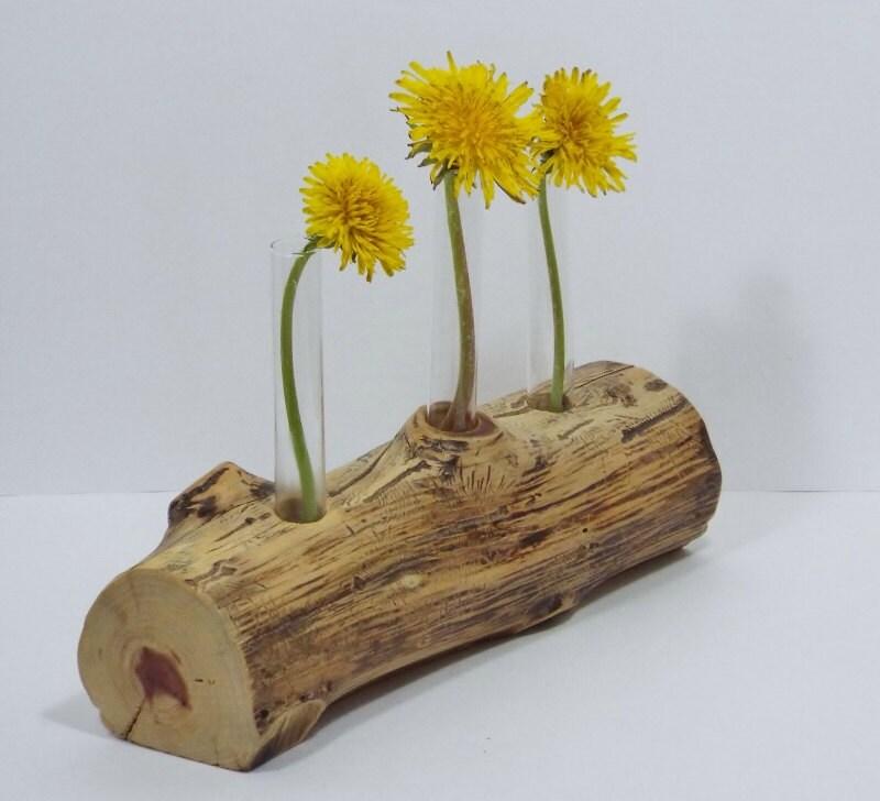 Rustic flower vase found wood 3 test tube bud vase gift table for Test tube vase