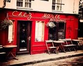 Paris Art Print - Montmartre Cafe, Parisian wall decor - Paris photography, crimson red, cafe wall art, Paris home decor - Chez Marie