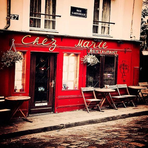 Items Similar To Paris Photograph, Cafe Art Print, Red