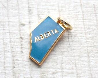 3 Vintage 1960s Blue Enameled Alberta Charms // Canadian Kistch