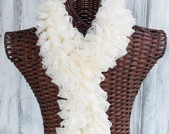 SALE Knitted scarf in cream lace, ruffle fashion accessory for women