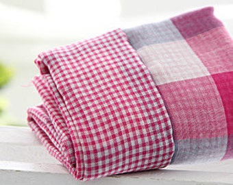 Pink Reverse Check Double Gauze Wide 144cm, U207