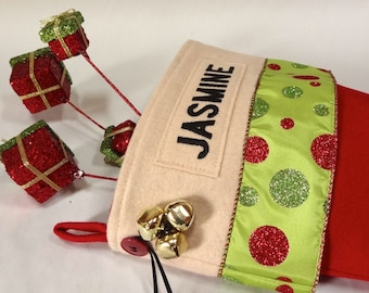 Bright Festive Personalized Christmas Stockings-Lime Green/Red
