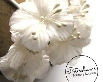 6 Satin & Organza Artificial Mini Ivory Hibiscus Flower Picks for Millinery, Fascinators
