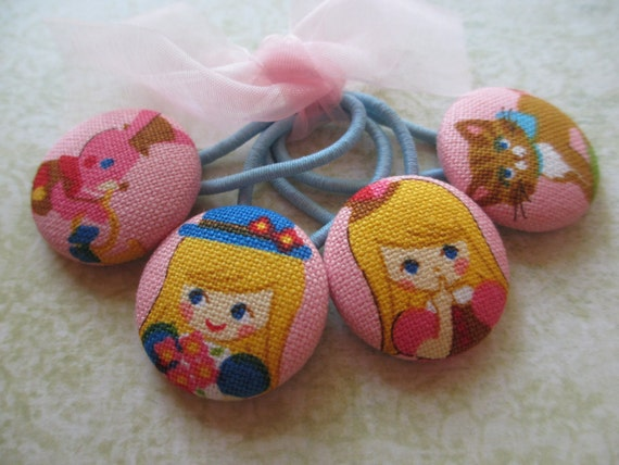 SALE -- LAST SET -- Alice in Wonderland Hair Tie Ponytail Holder Set of 4