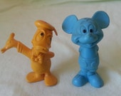 Funny Little Pair of Ink Injected Molded Disney Figures-Donald and Mickey