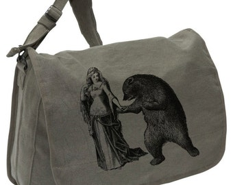 Dancing Bear -- Canvas messenger bag -- large field bag -- adjustable strap