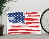 American flag - 24x36 Canvas Print / Watercolor paint