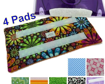 4 Reusable Swiffer Wet Jet pads Velcro pads, LOTS of Patterns, Eco Friendly, Washable, Velrco, Guaranteed EcoSwift Pads EcoGreen pad Detroit