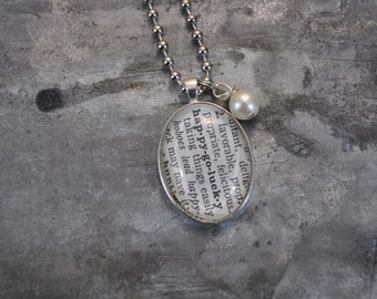One Word Vintage Dictionary Necklace- Happy Go Lucky