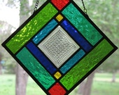 NEW Square Suncatcher with Pressed Glass Center