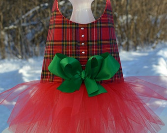 Dog Dress Tutu Harness - Red Plaid Tartan - Seen on TODAY show and Better TV!!!!