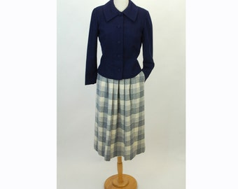1970s skirt, Pendleton wool skirt, plaid skirt, blue white, Size 10